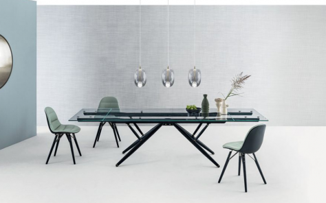 Bridge Glass Extending Dining Table