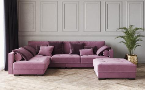 California Velvet Fabric Corner Sofa