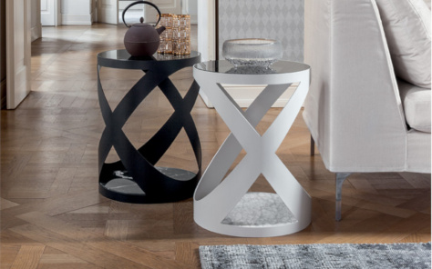 Flame Side Table - Black and White