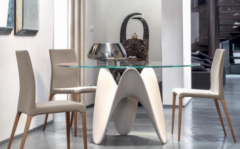 Gia Dining Table - Matt White Base