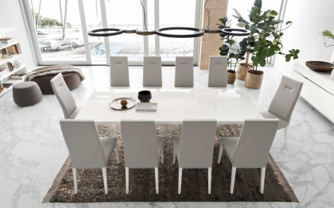 Isla Modern White Gloss Extending Dining Table