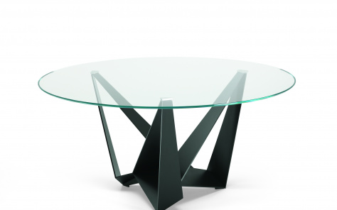 Skorpio Glass Round Dining Table - Tri Arm Metal Base
