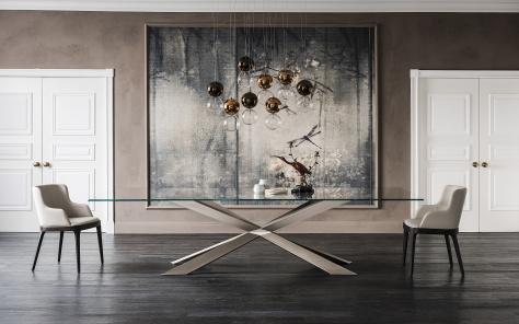 Spyder Satin Bronze Dining Table - Lifestyle