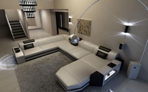 Concept Large Leather Corner Sofa