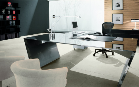 Vega Polished Steel Desk