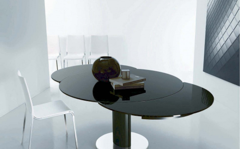 Giro Extending Glass Table, Column Base