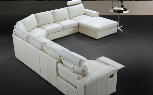 Navelli Leather Recliner Corner Sofa