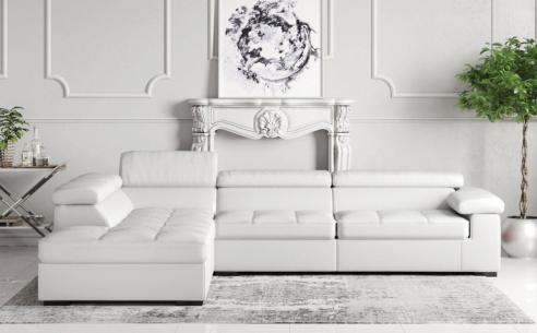 Anna Corner Sofa (Dolphin Grey Leather)  - BRAND NEW