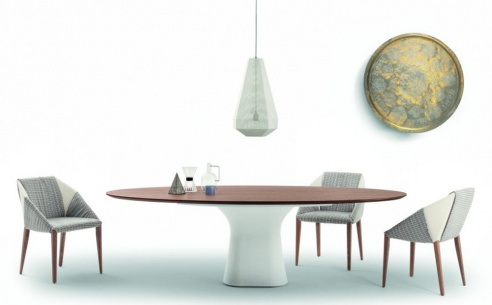 Podium Oval Wood Dining Table