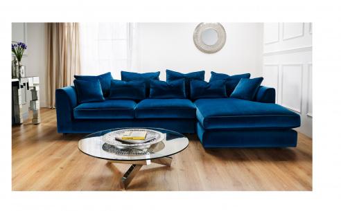 Boss Velvet Fabric Deep Corner Sofa  (Gold Fabric)  - EX DISPLAY