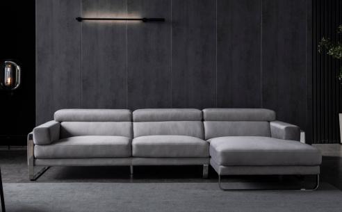 Juliett Fabric Chaise Corner Sofa  & Armchair (Wheat & Brown Fabric)  - BRAND NEW