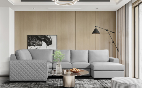 Ritz Couture Large Leather Corner Sofa (Grey) - SOLD