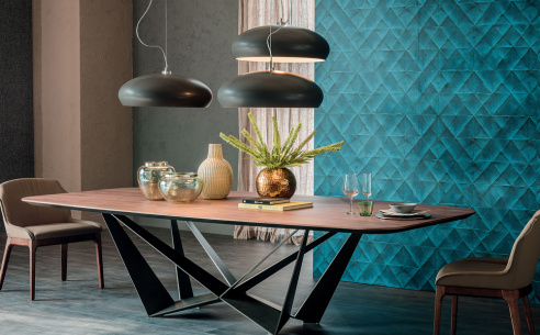 Skorpio Wood Dining Table - Shaped Top