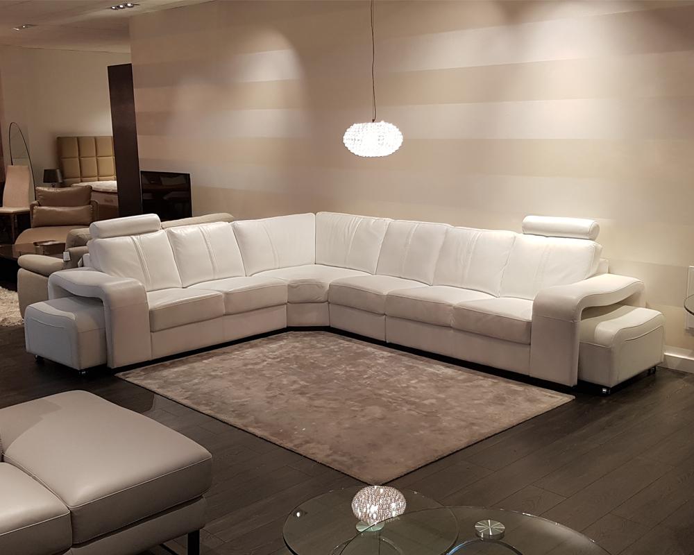 Buy Palermo White Leather Corner Sofa Ex Display Online