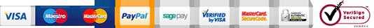 Visa, Paypal, Maestro, MasterCard, SagePay, MasterCard, Visa, iWeb SSL